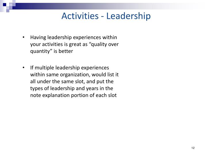Activities - Leadership