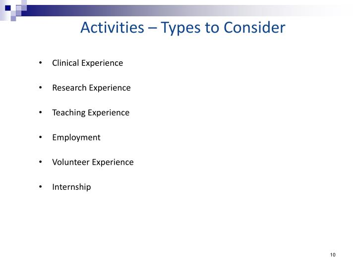 Activities – Types to Consider