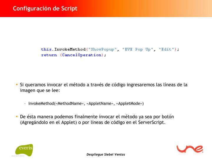 Configuración de Script