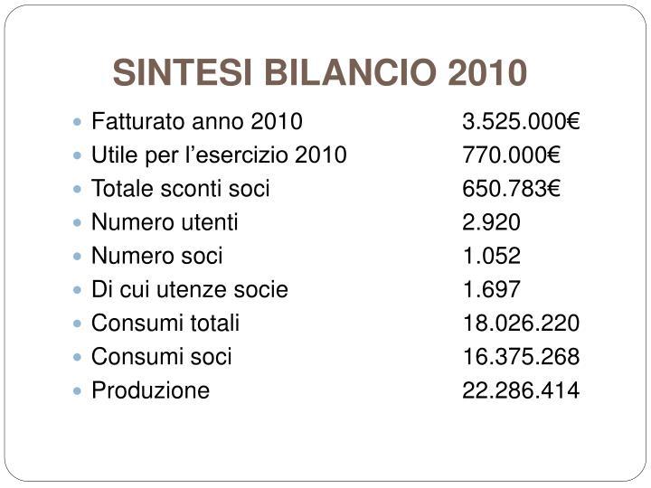 SINTESI BILANCIO 2010