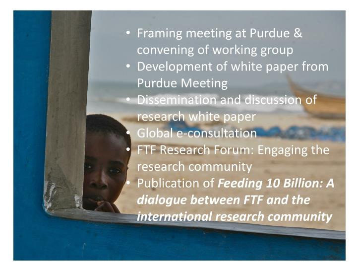 Framing meeting at Purdue & convening of working group