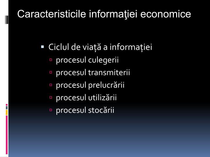 Caracteristicile informaţiei economice