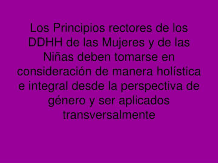 Los Principios rectores de los DDHH de las Mujeres y de las Niñas deben tomarse en consideración de manera holística e integral desde la perspectiva de género y ser aplicados transversalmente