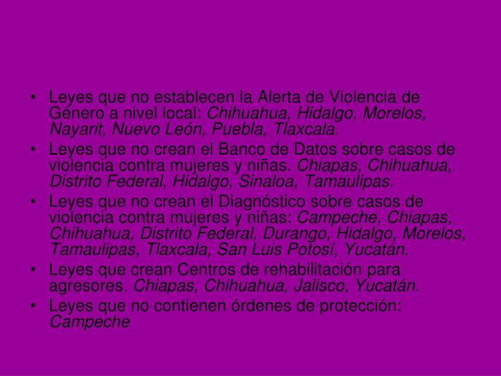 Leyes que no establecen la Alerta de Violencia de Género a nivel local: