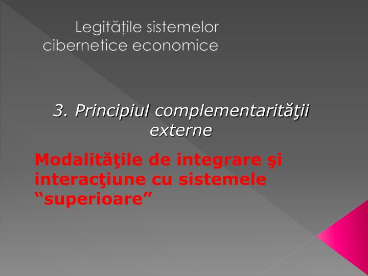 Legităţile sistemelor cibernetice economice