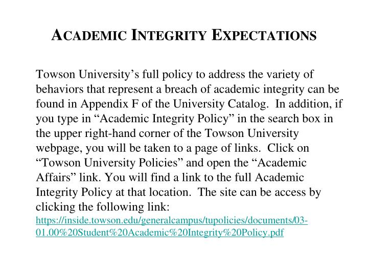 Academic Integrity Expectations
