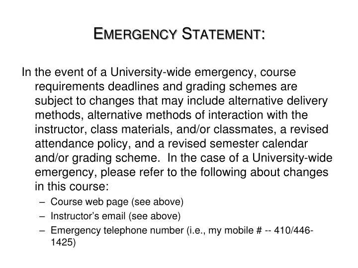 Emergency Statement: