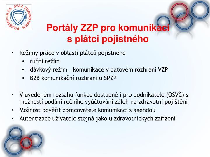 Portály ZZP pro komunikaci