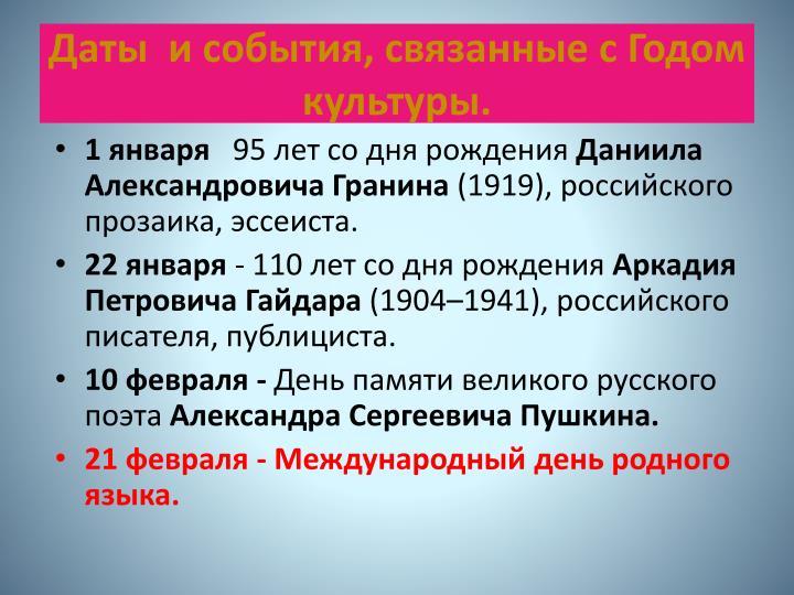 Даты и события, связанные с Годом культуры.