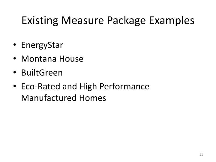 Existing Measure Package Examples