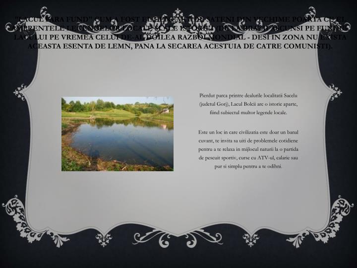 """""""Lacul fara fund"""" cum a fost el denumit de sateni din vechime poarta cu el amprentele legendelor locale si ale istoriei (de la brazii ascunsi pe fundul lacului pe vremea celui de-al doilea Razboi Mondial - desi in zona nu exista aceasta esenta de lemn, pana la secarea acestuia de catre comunisti)."""