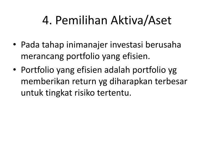 4. Pemilihan Aktiva/Aset