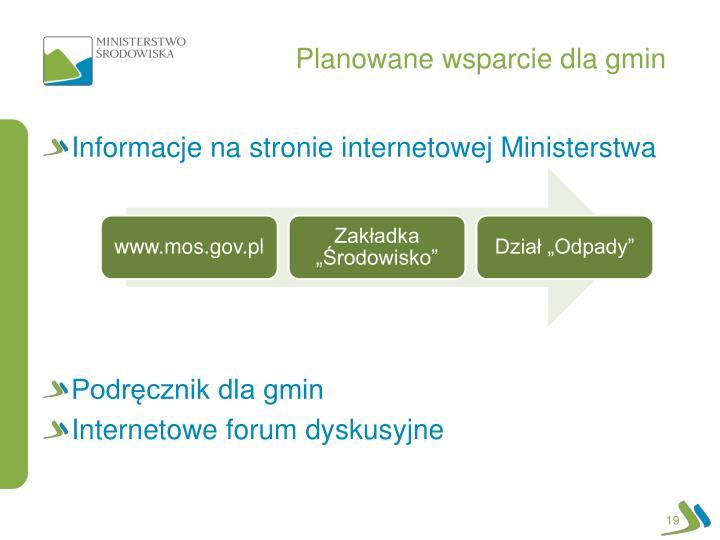 Planowane wsparcie dla gmin