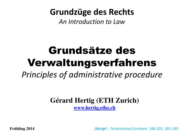 Grunds tze des verwaltungsverfahrens principles of administrative procedure