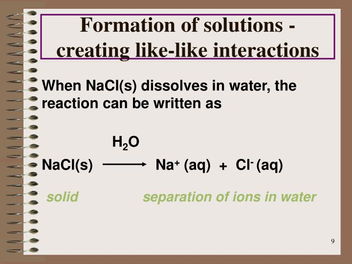 When NaCl(s) dissolves in water, the reaction can be written as
