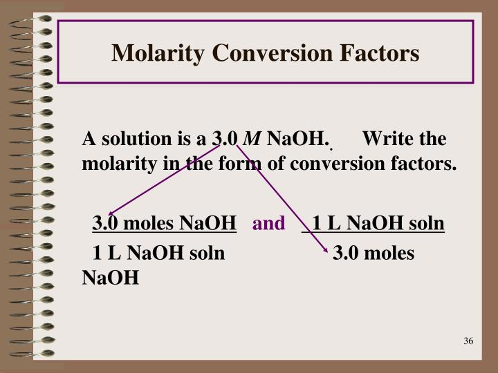 Molarity Conversion Factors