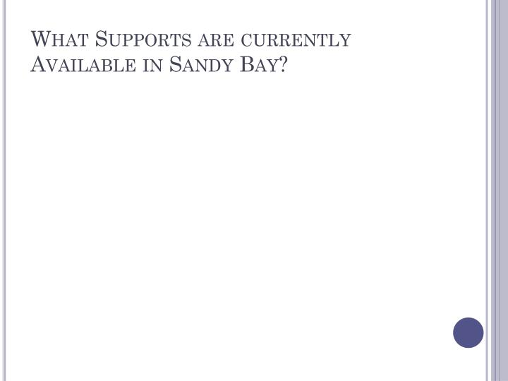 What Supports are currently Available in Sandy Bay?
