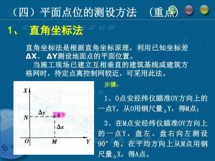 (四)平面点位的测设方法