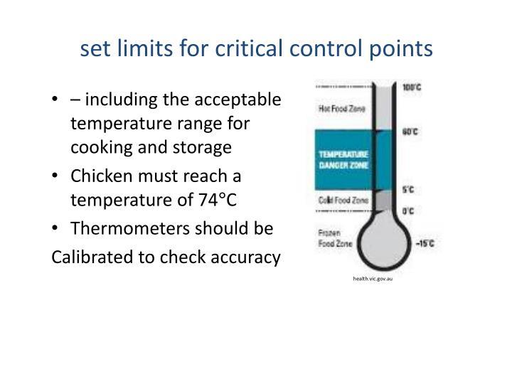set limits for critical control points