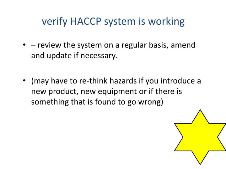 verify HACCP system is working