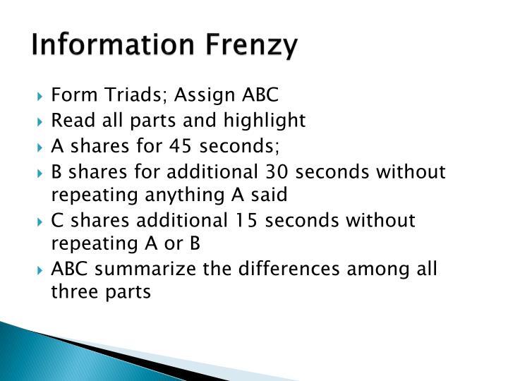 Information Frenzy