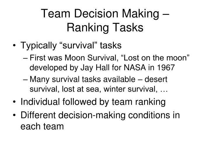 Team Decision Making – Ranking Tasks
