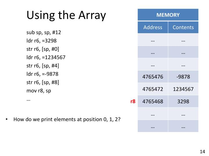 Using the Array