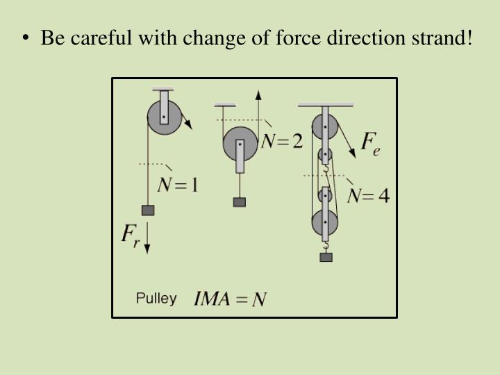 Be careful with change of force direction strand!