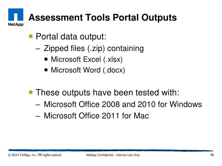 Assessment Tools Portal Outputs