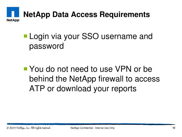 NetApp Data Access Requirements
