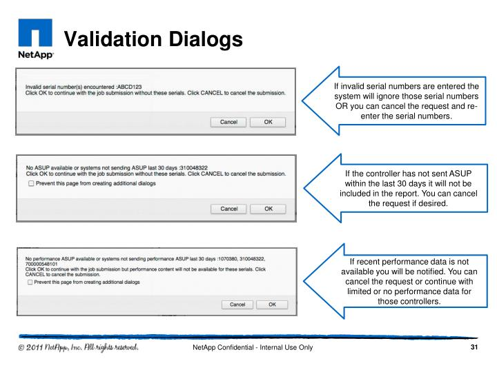 Validation Dialogs