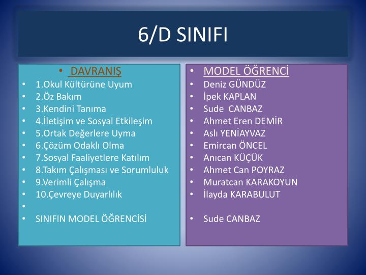 6/D SINIFI