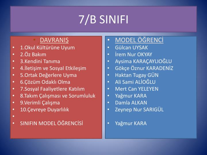 7/B SINIFI