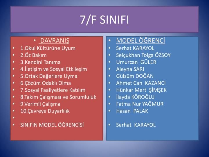 7/F SINIFI