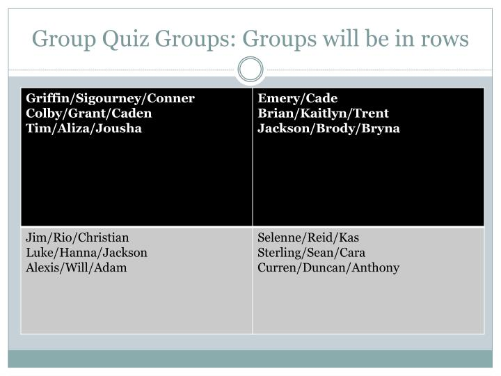 Group quiz groups groups will be in rows