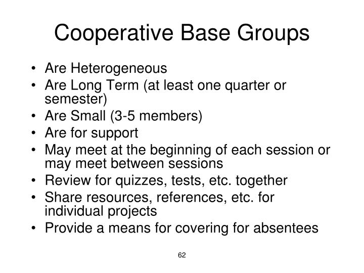 Cooperative Base Groups