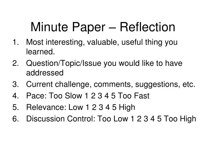 Minute Paper – Reflection