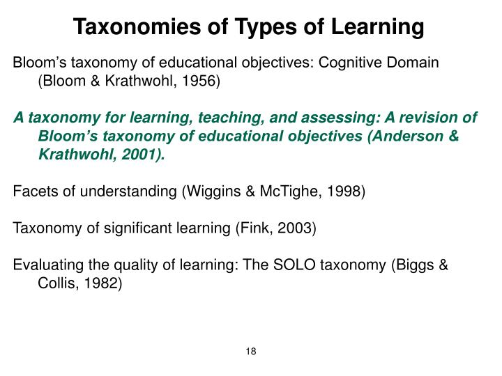 Taxonomies of Types of Learning
