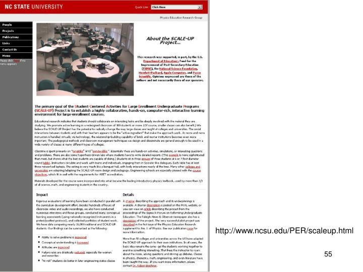 http://www.ncsu.edu/PER/scaleup.html