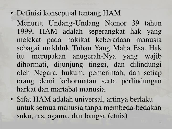 Definisi konseptual tentang HAM