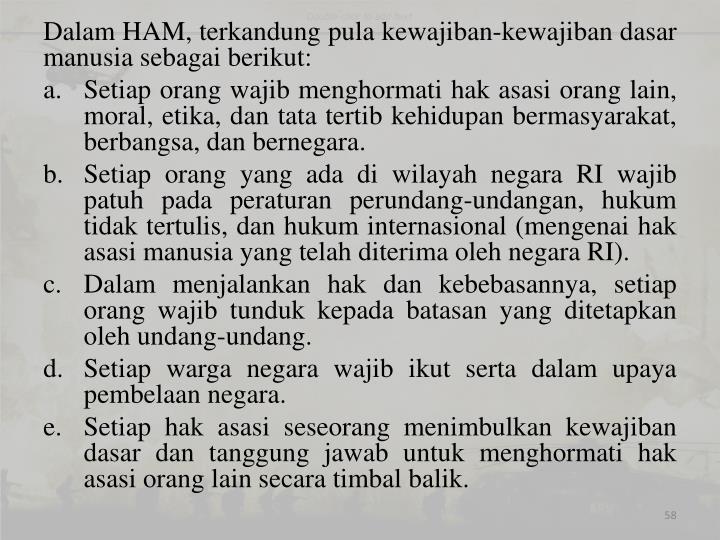 Dalam HAM, terkandung pula kewajiban-kewajiban dasar manusia