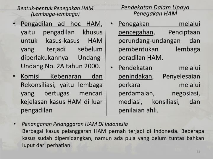 Bentuk-bentuk Penegakan HAM (Lembaga-lembaga)