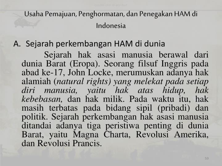 Usaha Pemajuan, Penghormatan, dan Penegakan HAM di Indonesia