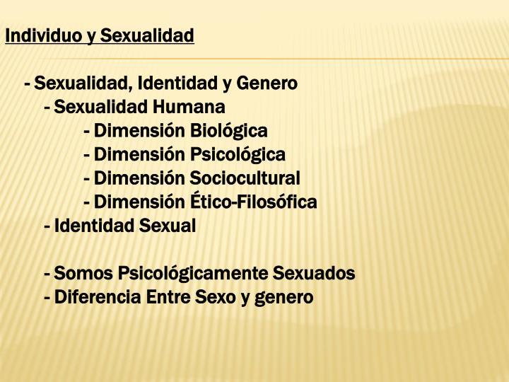 Individuo y Sexualidad