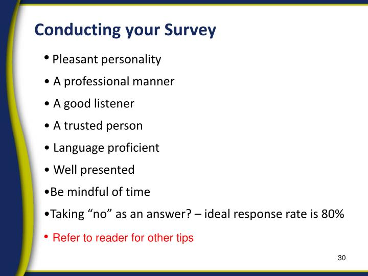 Conducting your Survey