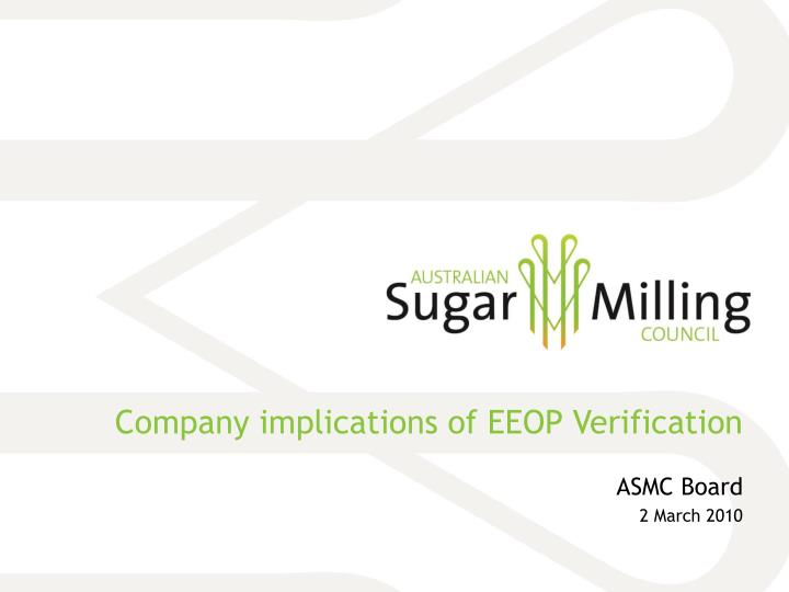 Company implications of eeop verification