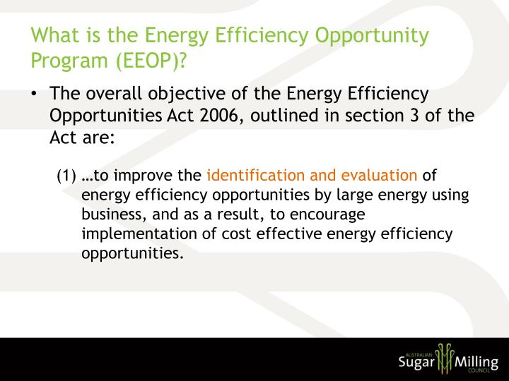 What is the energy efficiency opportunity program eeop