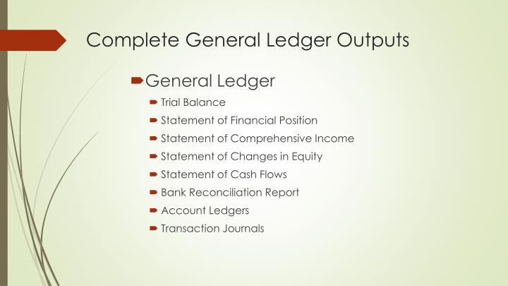 Complete General Ledger Outputs