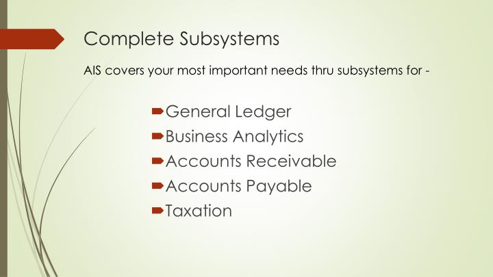 Complete subsystems