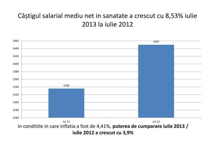 Câștigul salarial mediu net in